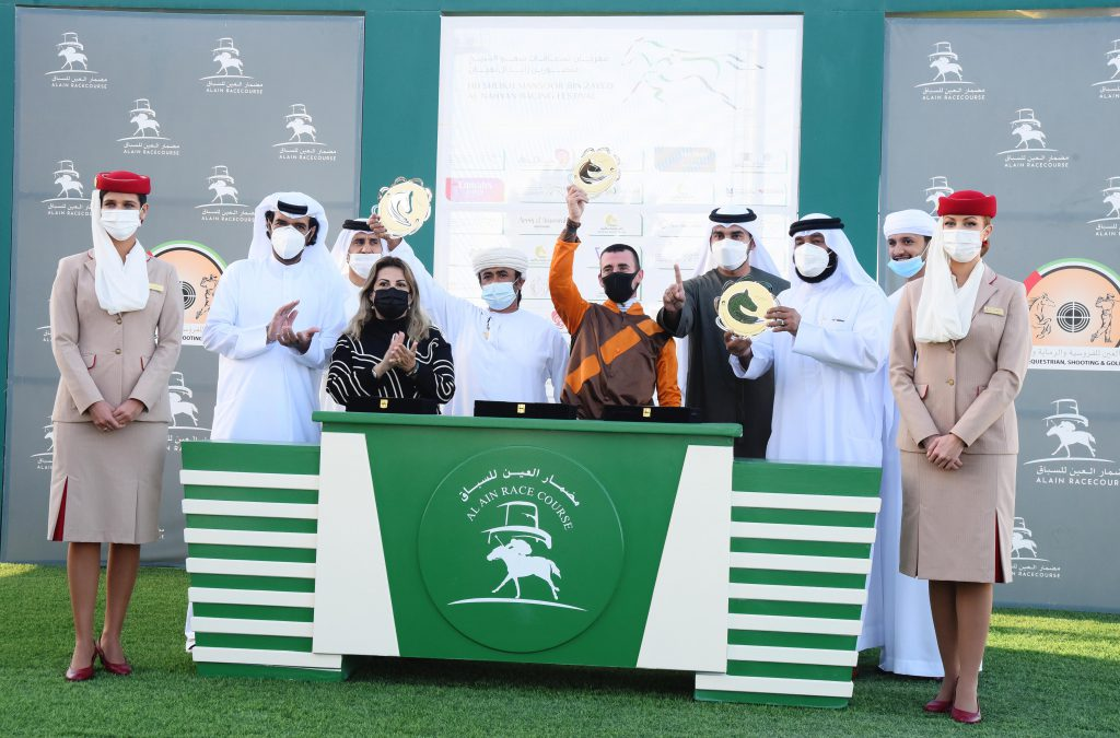 """Asif"" by Mohammed Rashid Al-Saadi wins Wathba Stallions Cup, held on 12 February 2021 at Al Ain Racecourse, with a prize of 70 thousand dirhams, under the auspices of the of His Highness Sheikh Mansour bin Zayed Al Nahyan Racing Festival.  ""Asif"", trained by Ibrahim Al-Hadrami and led by Fabrice Veron, scored 2:03:02 minutes, ahead of ""Dream de Montjoie"" by Nasser Askar, while ""AF Al-Bahir"" came third by Khalid Khalifa Al-Naboodah.  Lara Sawaya, Executive Director of the His Highness Sheikh Mansour Bin Zayed Al Nahyan Racing Festival, presented the prizes to the winners.  The HH Sheikh Mansoor Bin Zayed Al Nahyan Horse Racing Festival is sustained by the Abu Dhabi Department of Culture & Tourism coordinated by Abu Dhabi Sports Council, with National Feed and Flour Production and Marketing Co. LLC as associate sponsors, The National Archives as the official partner , Emirates Airline as the official carrier, sponsored by Al Massood Automobiles Nissan, Areej Alameerat, Omeir Travels Agency, YAS Sports TV., Viola Communications, Abu Dhabi Falconers Club, the UAE's General Women's Union , Emirates Arabian Horse Society & Abu Dhabi Equestrian Club."